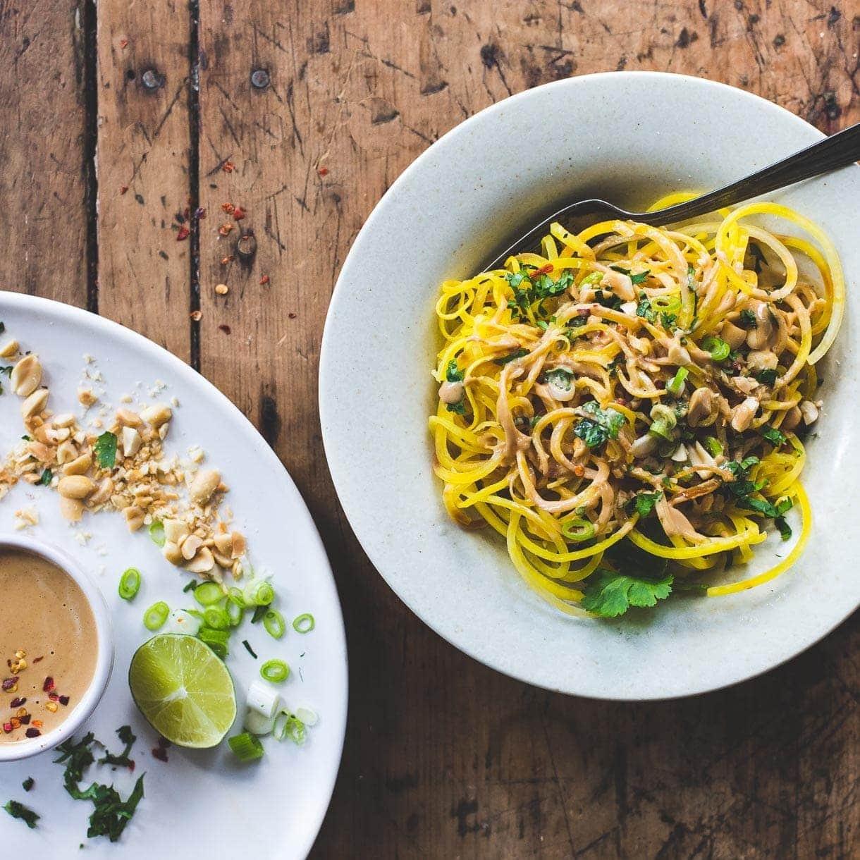 Golden Beet Noodles with Spicy Peanut Sauce