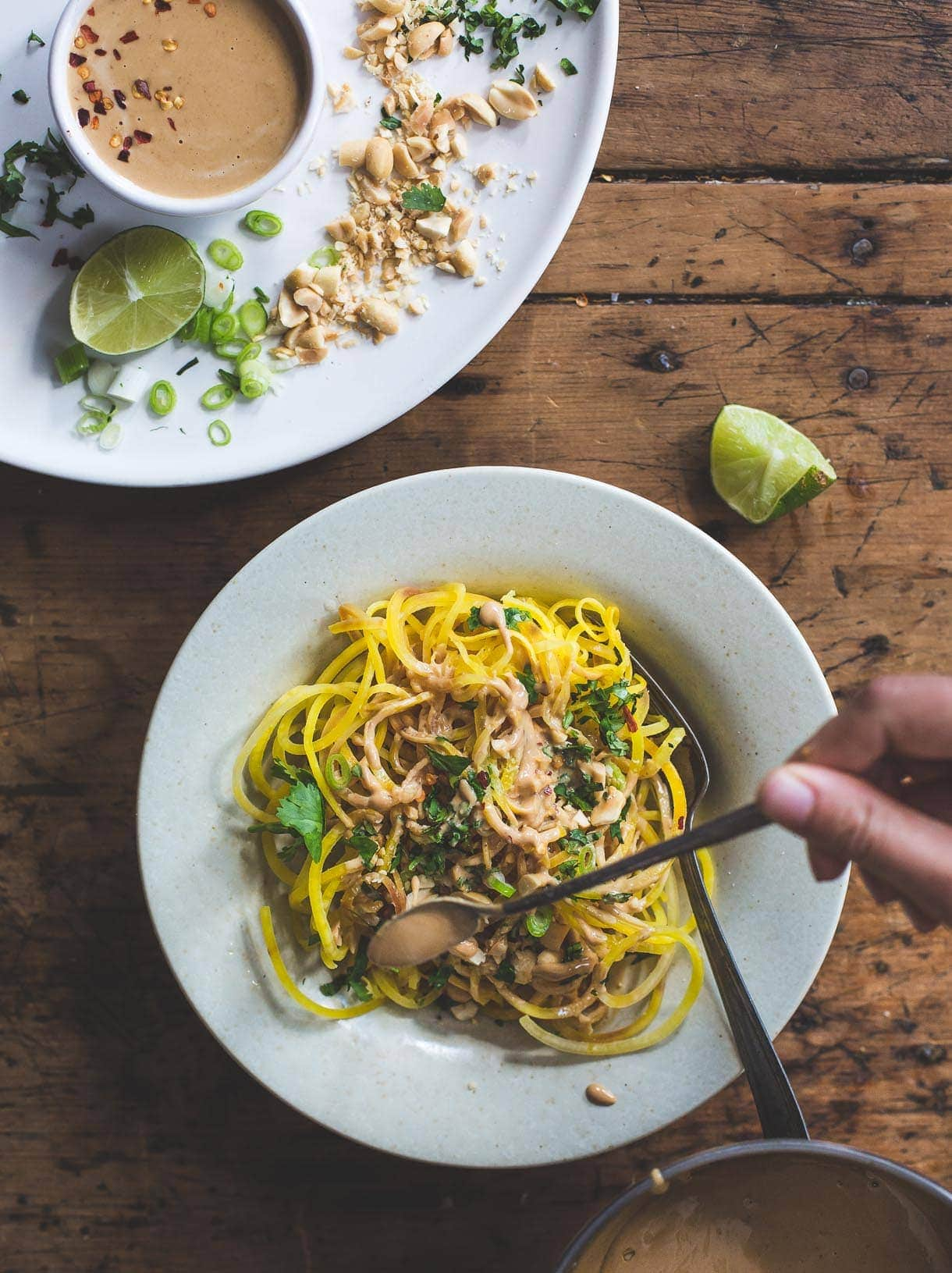 Golden Beet Noodles with Spicy Peanut Sauce {grain-free spiralized meal}
