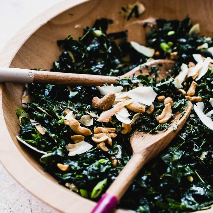 Coconut Cashew Kale Salad {massaged kale meets toasted coconut flakes & salty cashews}