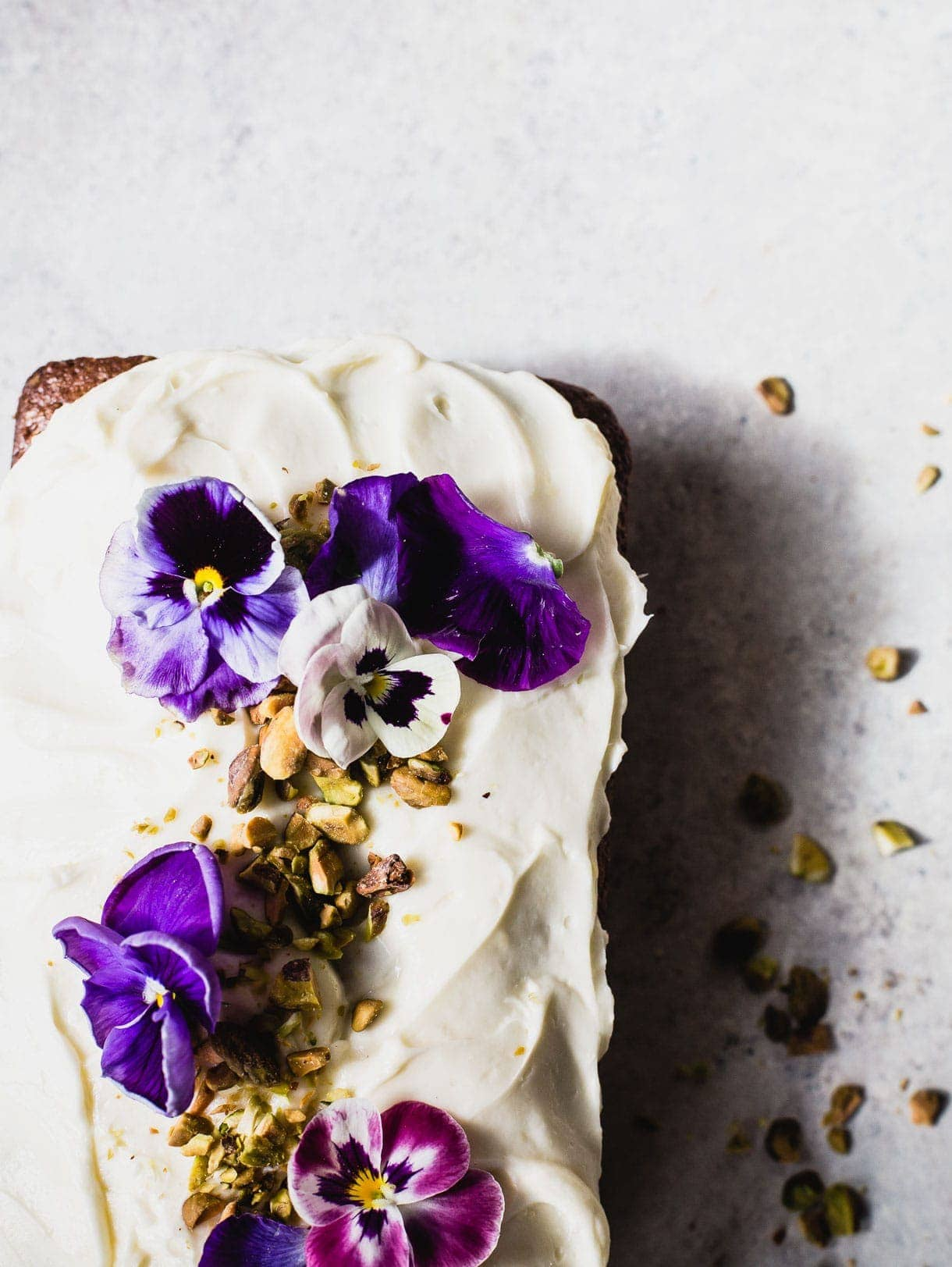 Gluten-Free Pistachio Cardamom Cake with Cream Cheese Frosting {made with teff flour, edible flowers}