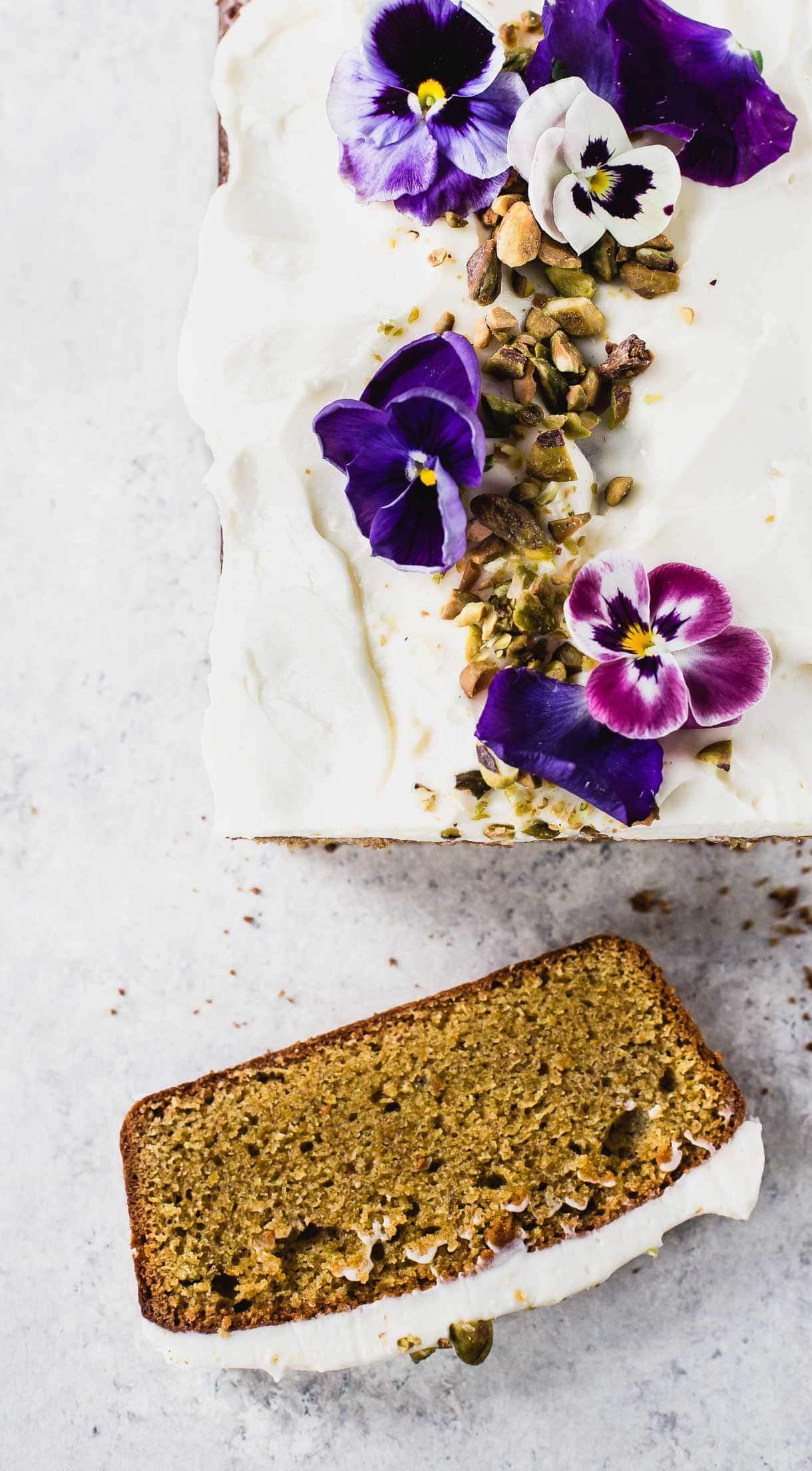 Teff Flour Cardamom Pistachio Cake with Cream Cheese Frosting {gluten-free}