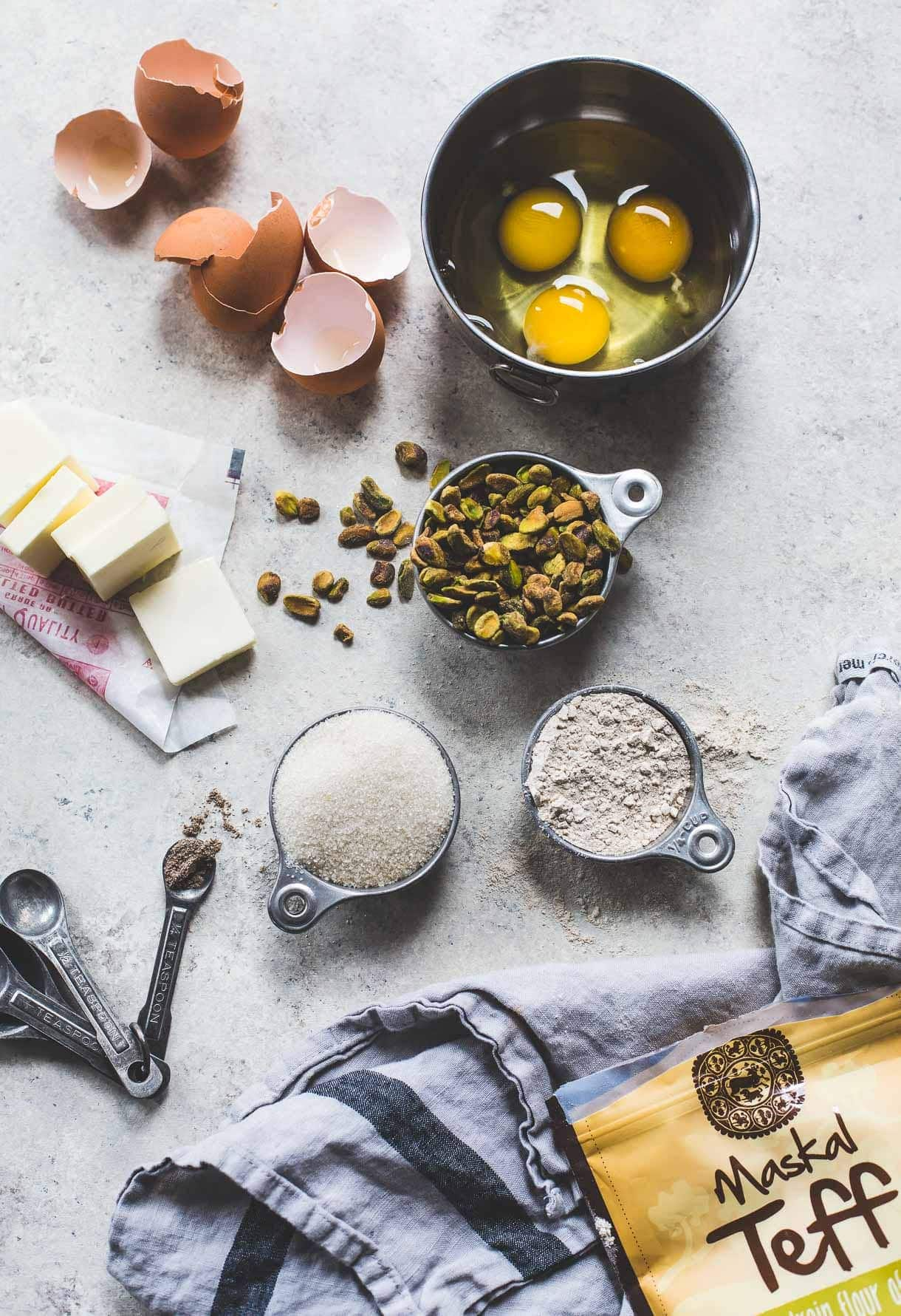 Teff Flour Pistachio Cake with Cream Cheese Frosting {gluten-free}