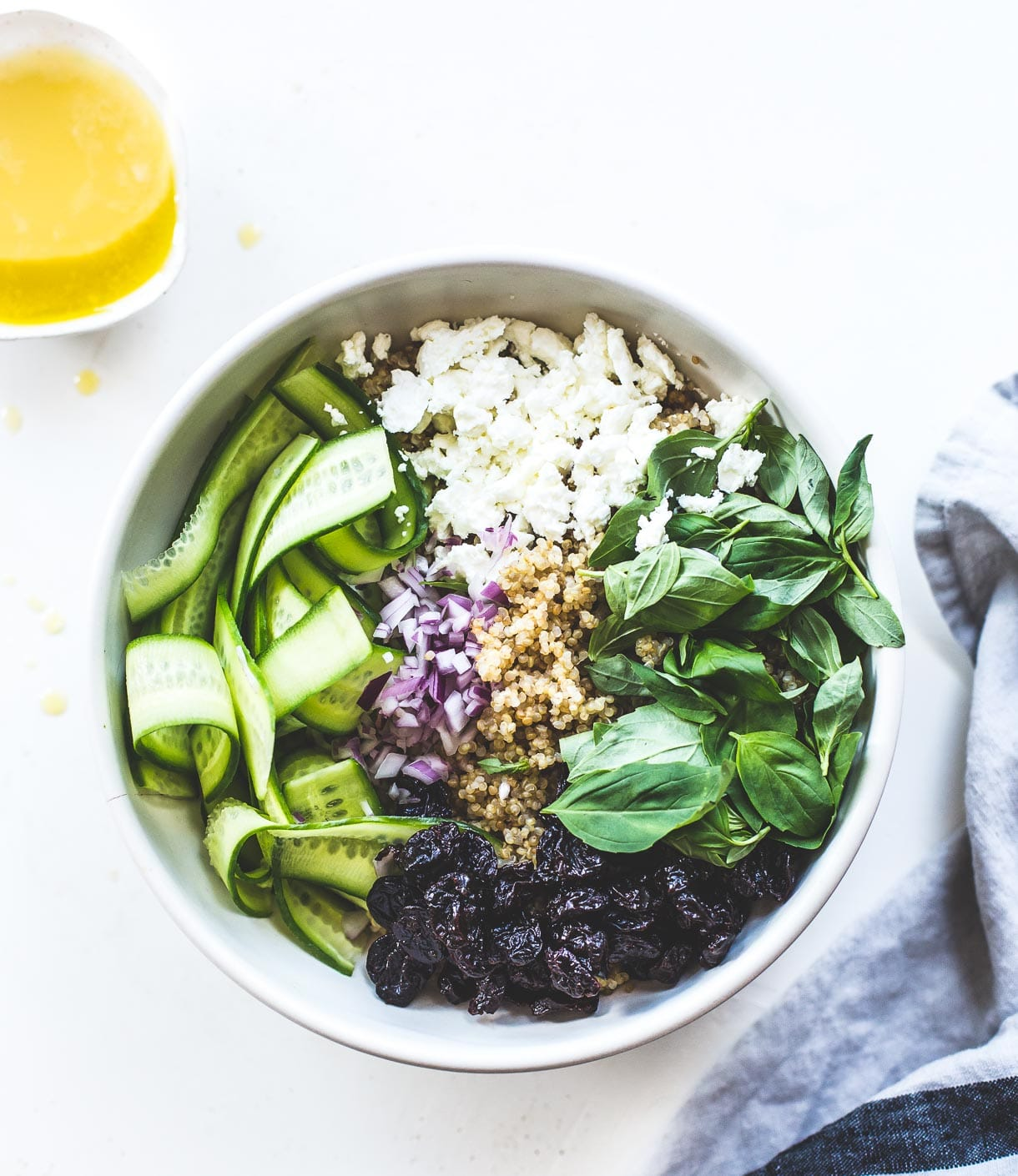 Basil Cucumber Quinoa Picnic Salad {with a light, lemony dressing, dried cherries, and goat cheese}
