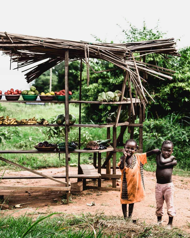 Nakivale Settlement, Uganda, Refugee Camp, children and vegetable stand
