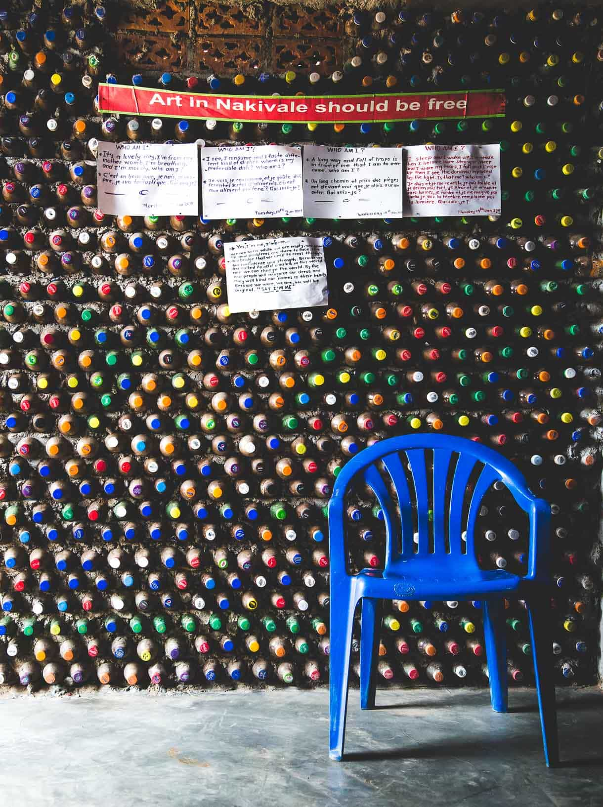 Nakivale Artist Studio - building made out of soda pop bottles