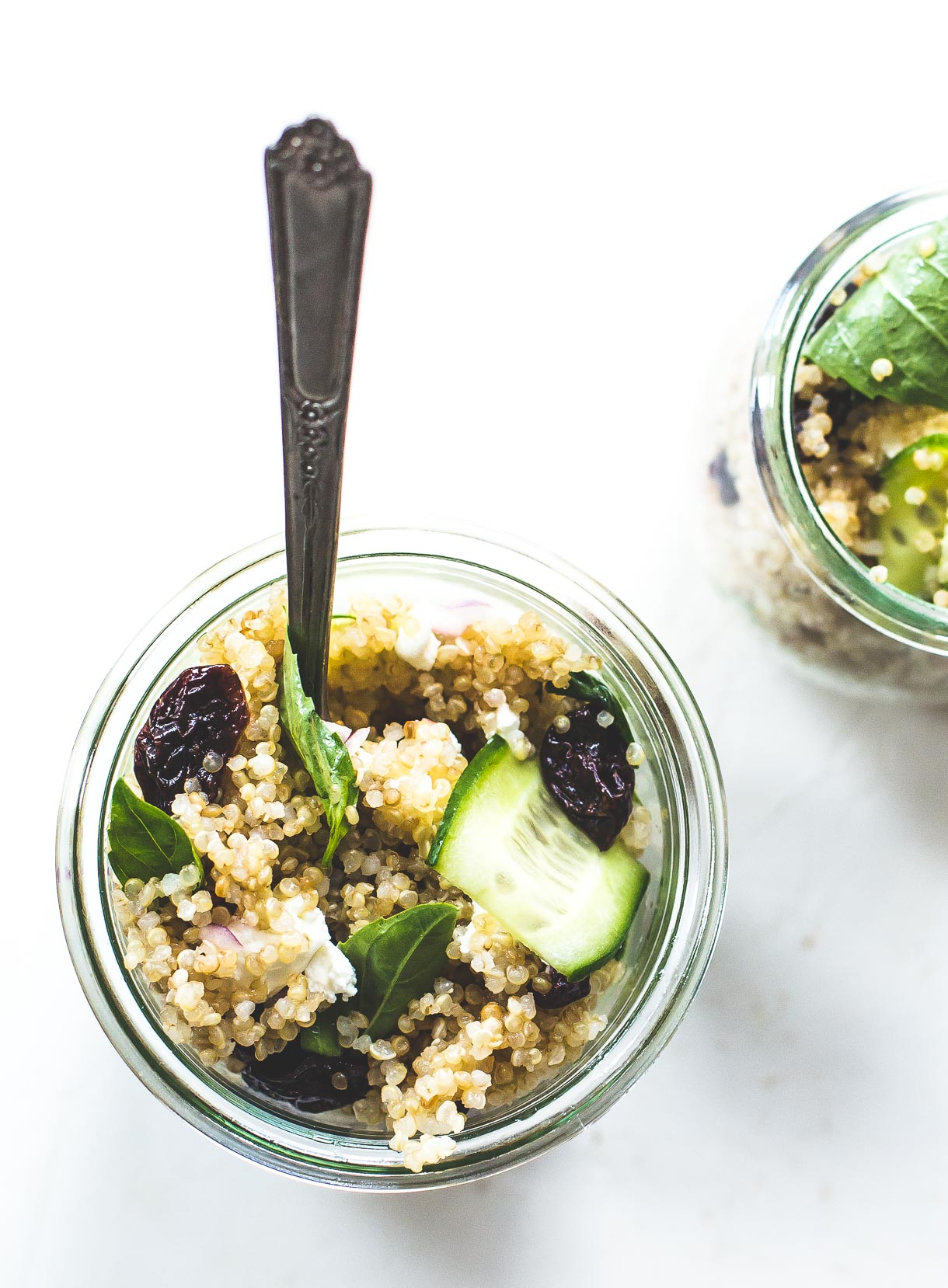 Basil Cucumber Quinoa Picnic Salad Jars {with a light, lemony dressing, dried cherries, and goat cheese}