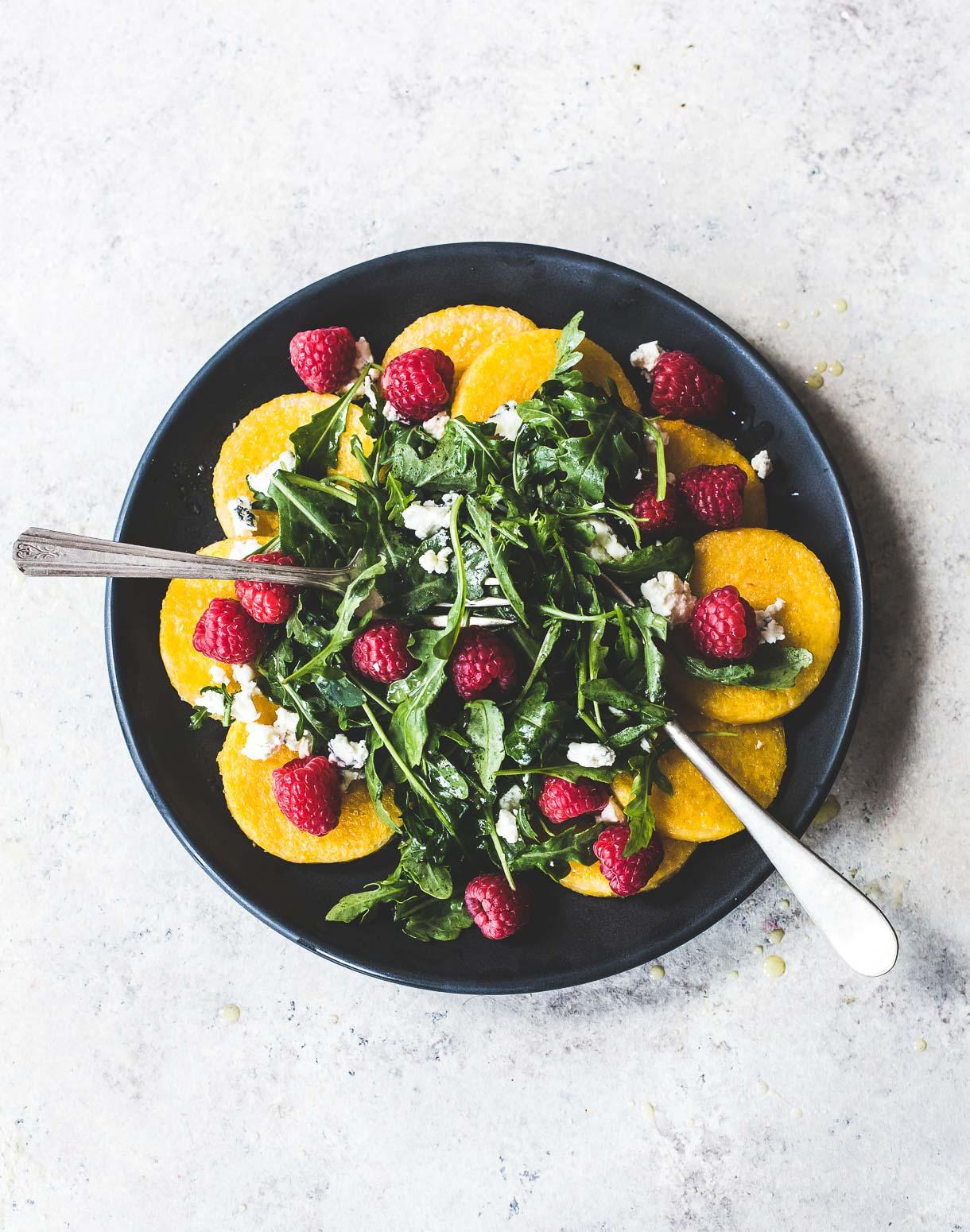 Raspberry Arugula Polenta Salad {gluten-free, vegetarian}