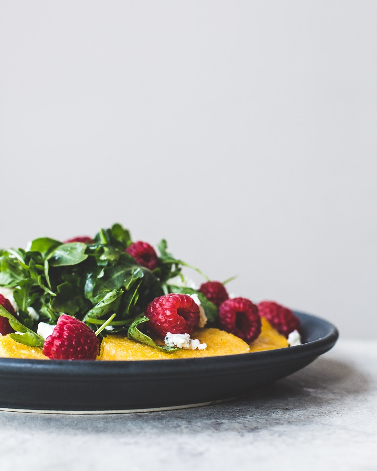 Raspberry Arugula Polenta Salad {gluten-free, vegetarian recipe}