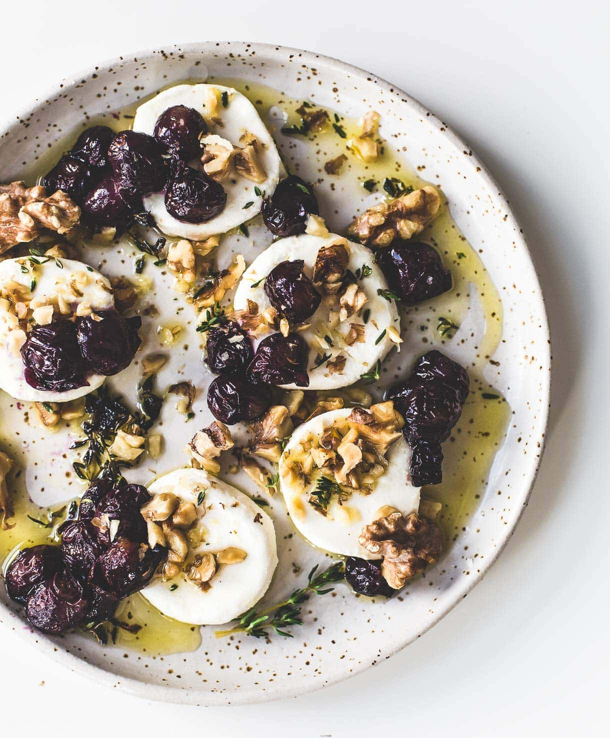 Marinated Goat Cheese with Roasted Grapes and Walnuts