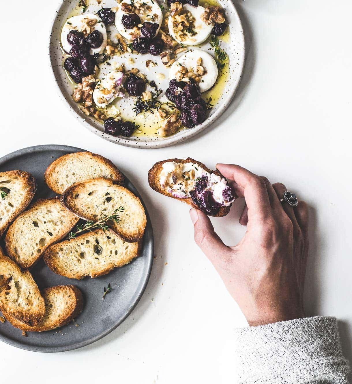 Marinated Goat Cheese with Roasted Grapes and Walnuts // #holidayappetizer