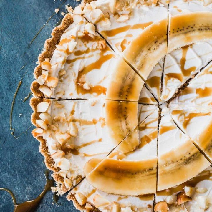Banana Caramel Greek Yogurt Tart with Cheerios Crust
