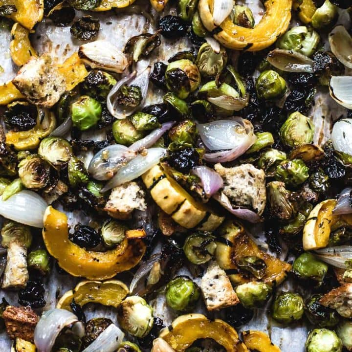 Sheet Pan Vegetarian Stuffing with Squash and Brussels Sprouts