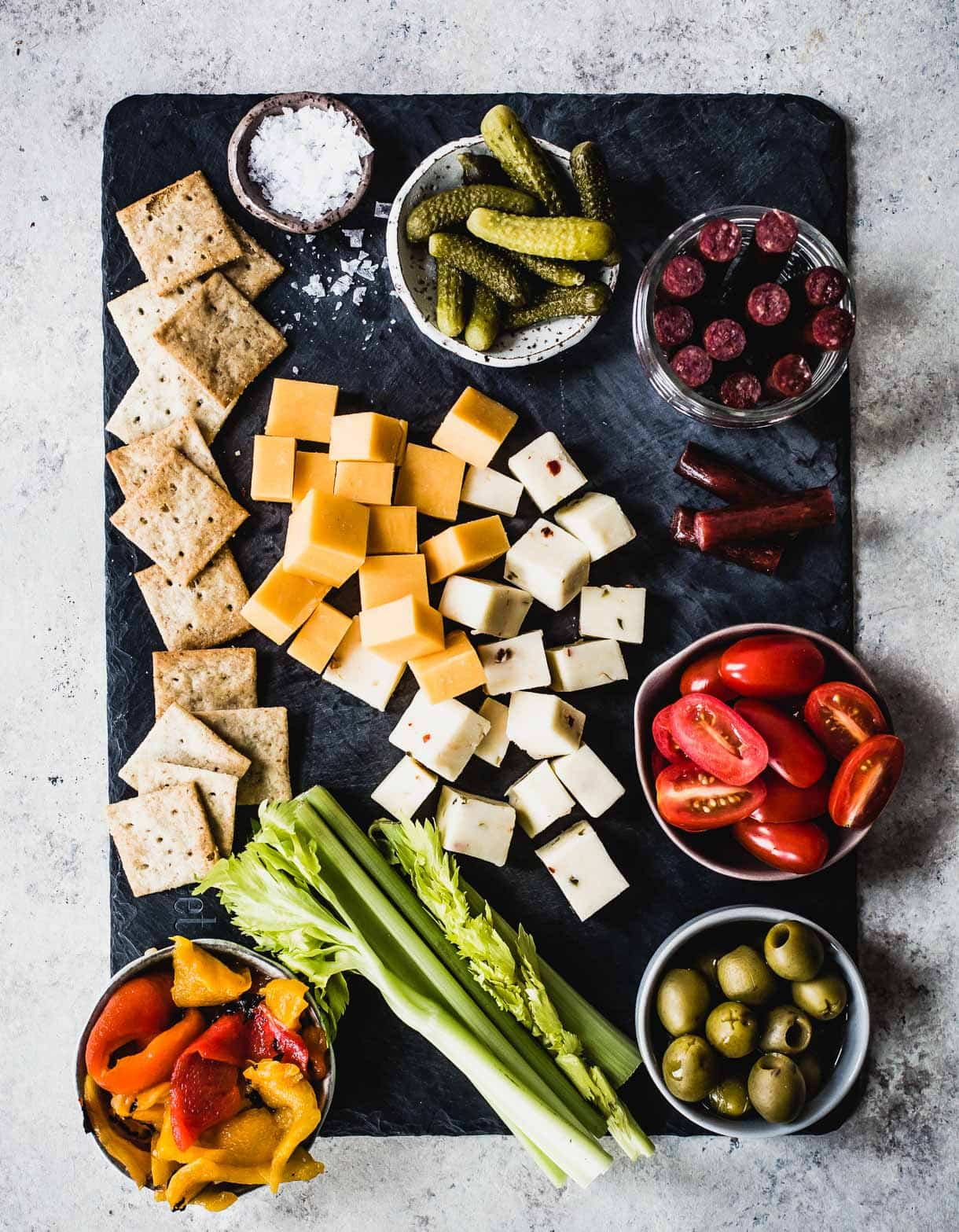Bloody Mary Appetizer Board (all the fixings you normally love on a bloody mary skewer, made into a cheese board!)