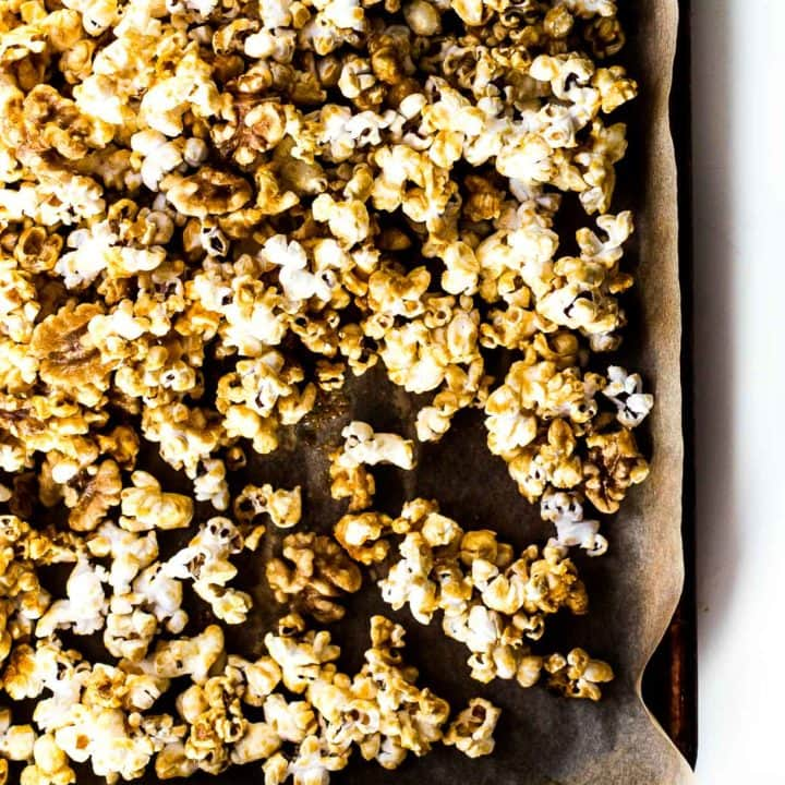 Healthier Caramel Corn made with maple syrup and walnuts