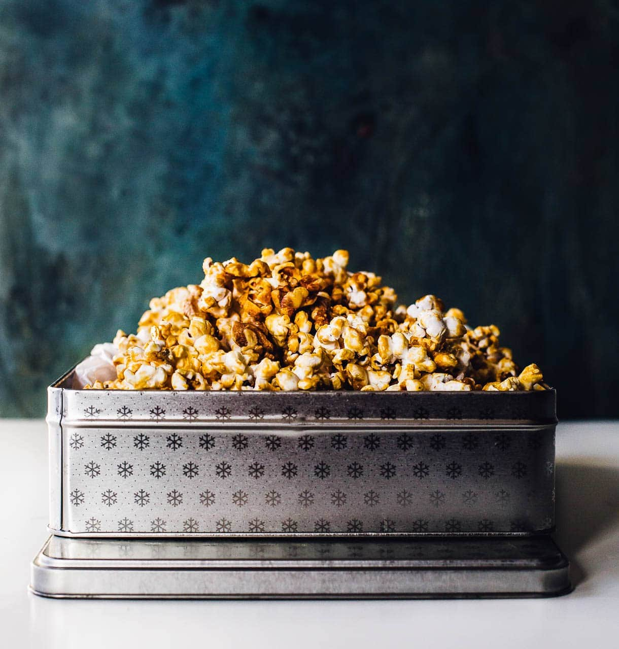 Healthier Homemade Caramel Corn made with maple syrup and walnuts