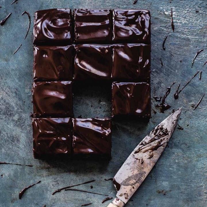 Teff Flour Brownies with Vegan Chocolate Ganache