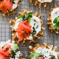 Mini Waffles with Lox and Cream Cheese