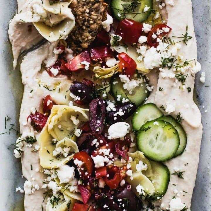 Easy Seven Layer Hummus Dip: vegan recipe