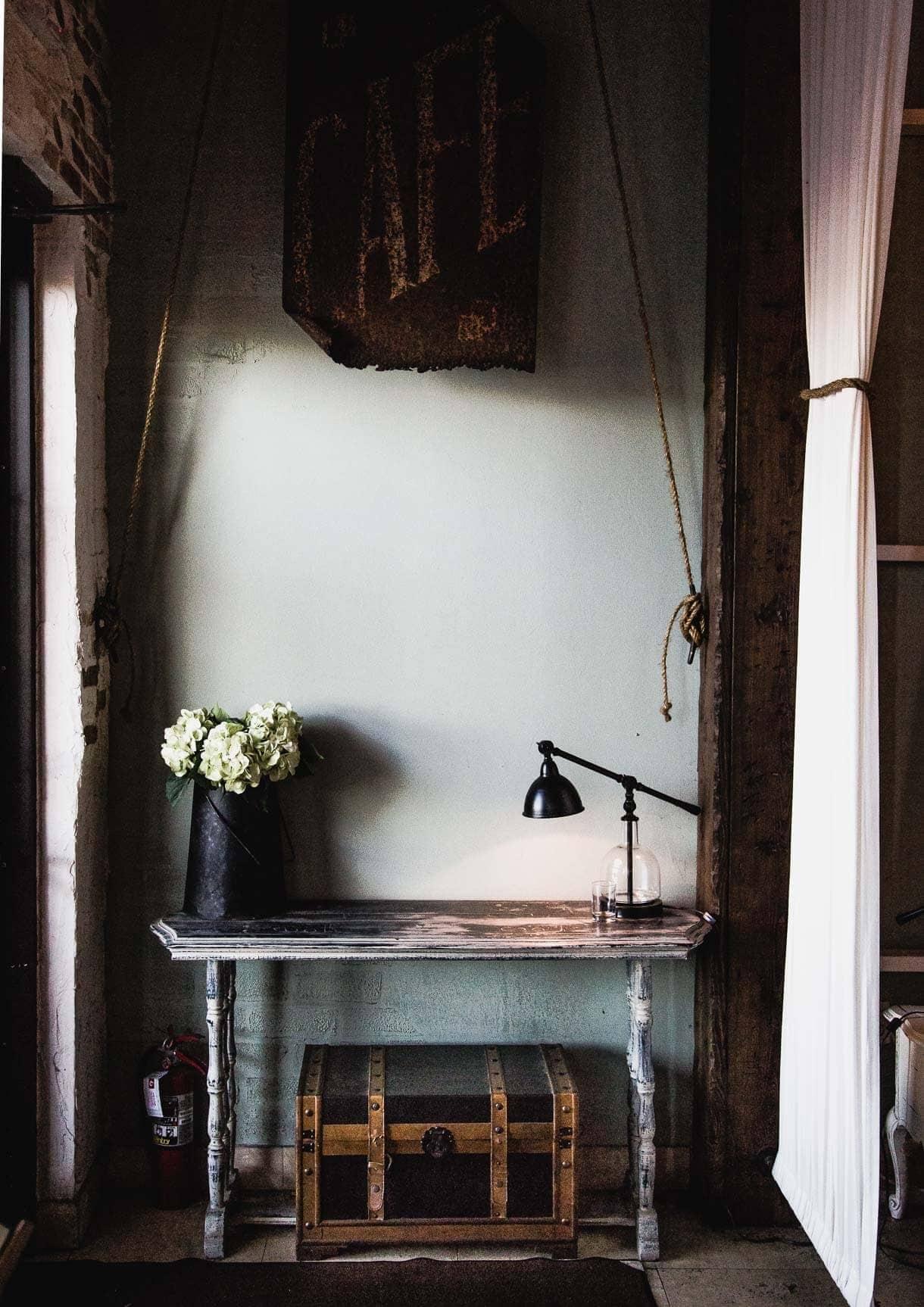 vintage desk lamp and scene