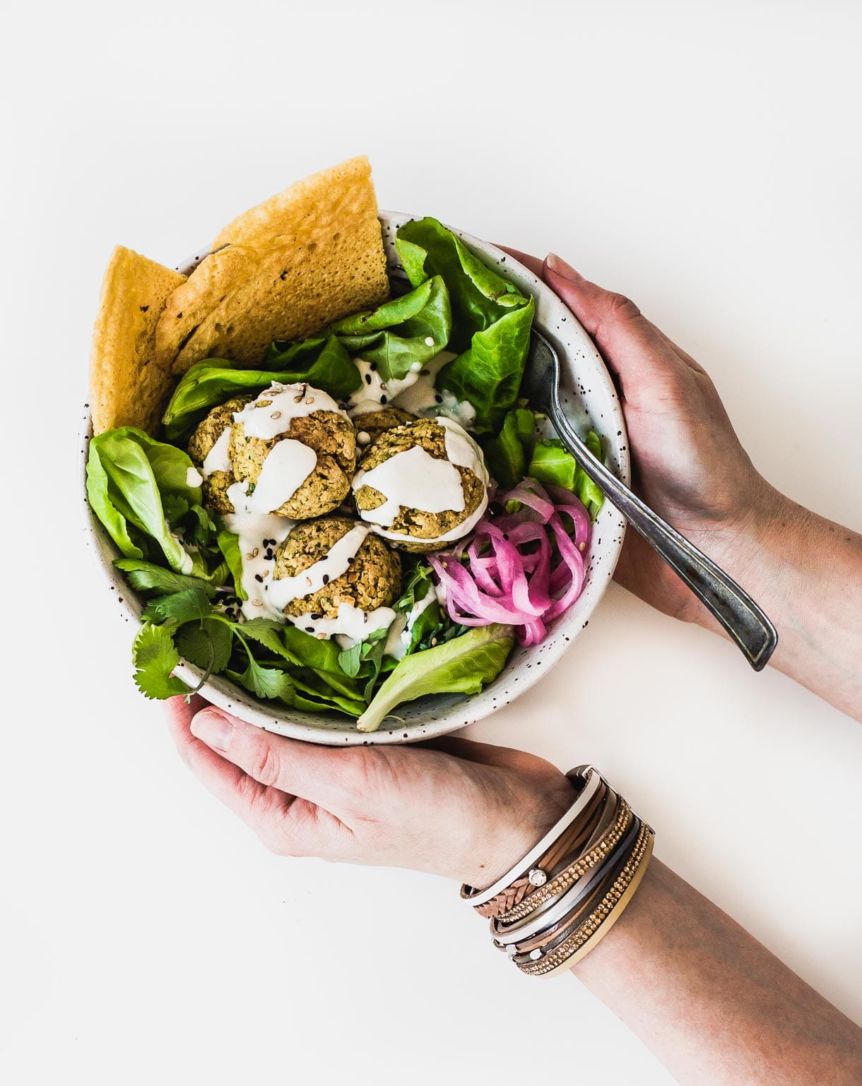Baked Falafel Salad Recipe with Tahini Dressing // gluten-free