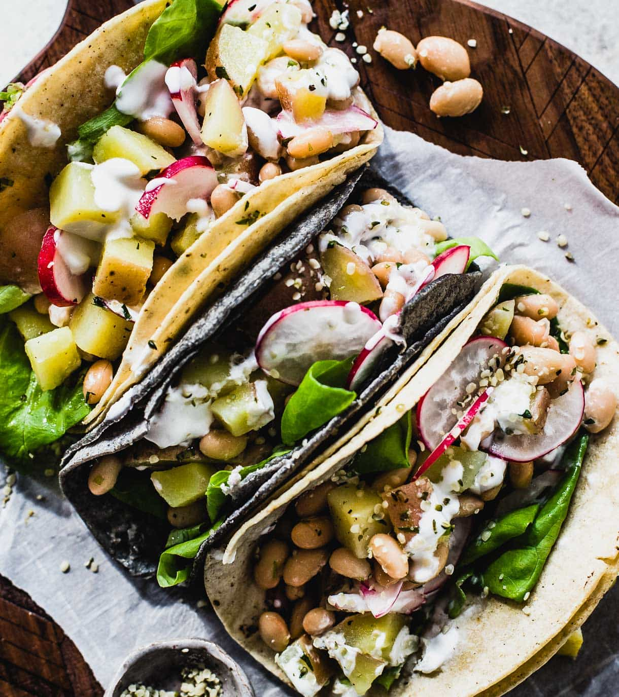 Vegetarian Spring Tacos with White Beans and Potatoes, Garlic Yogurt Sauce