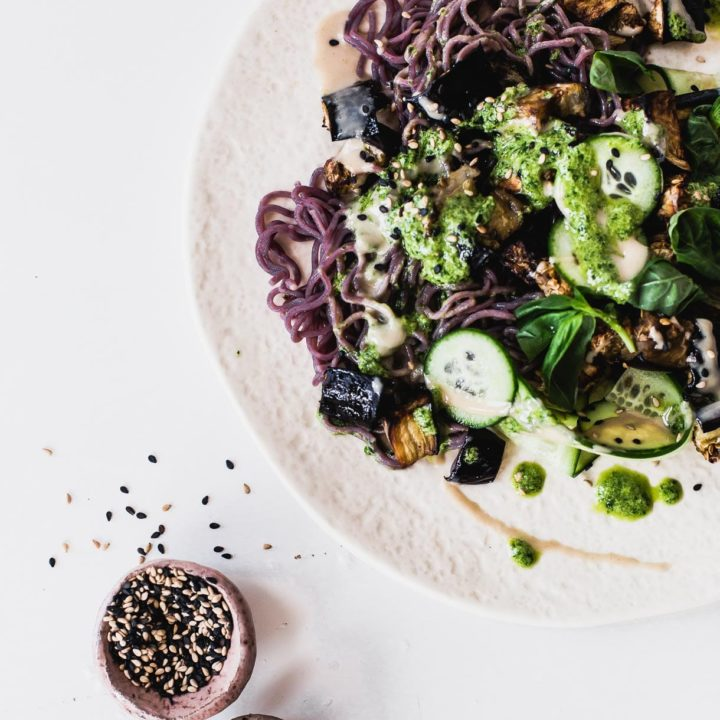 Ramen Noodles with Roasted Eggplant and Green Tahini Sauce