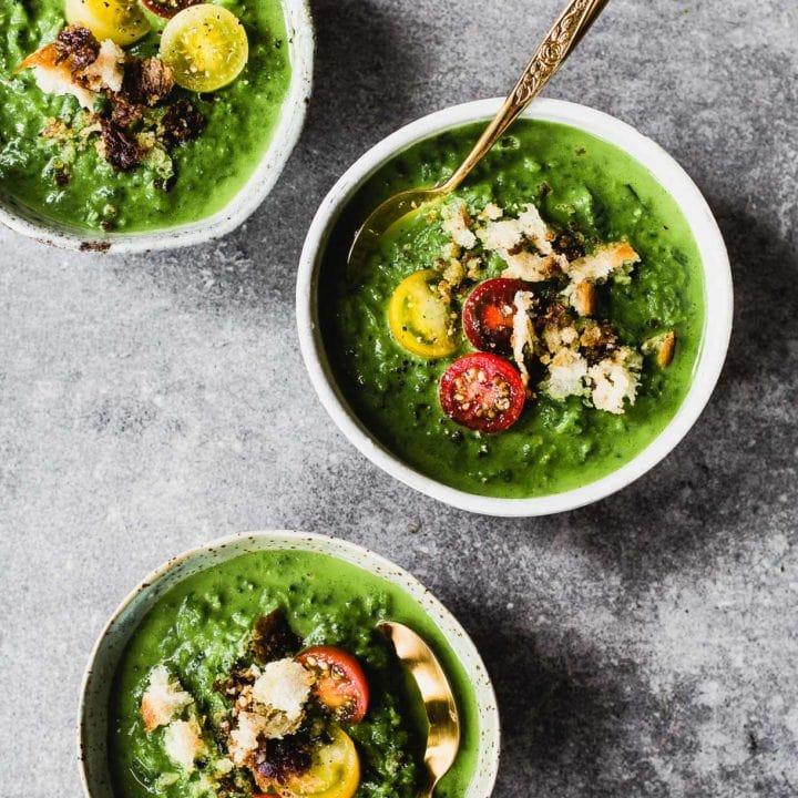 Bright Green Broccoli and Potato Soup with Mozzarella