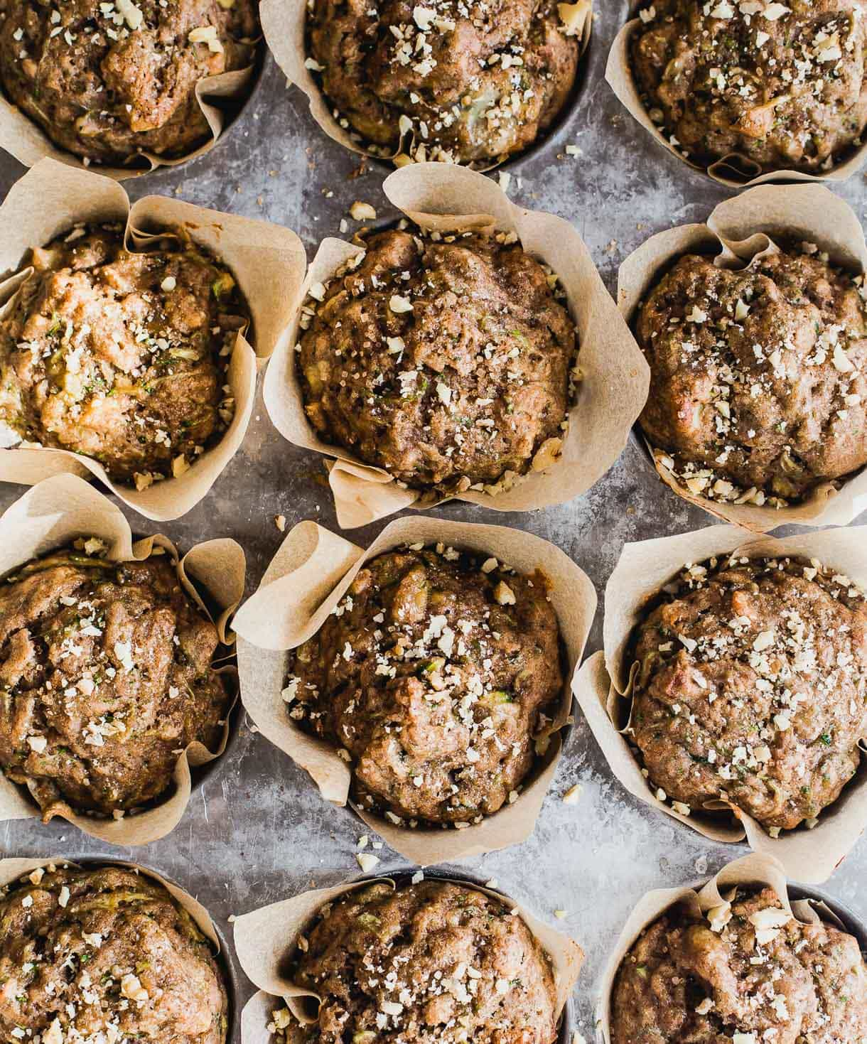 Leftover Sourdough Starter Muffins with Zucchini (made with spelt flour)