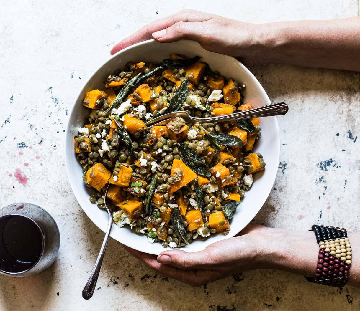 Lentils with Butternut Squash and Fried Sage