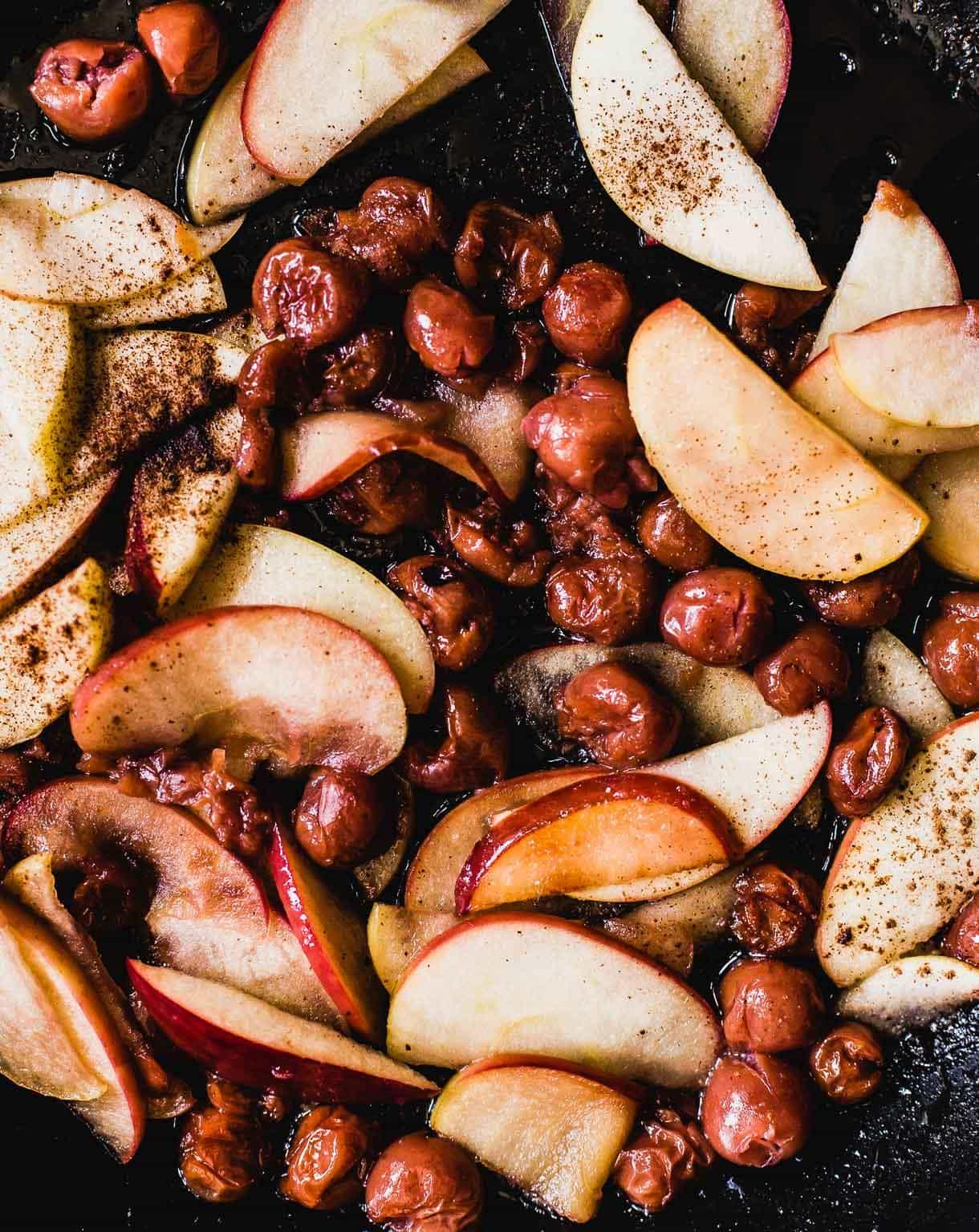 Tart Cherry Apple Oven Pancake