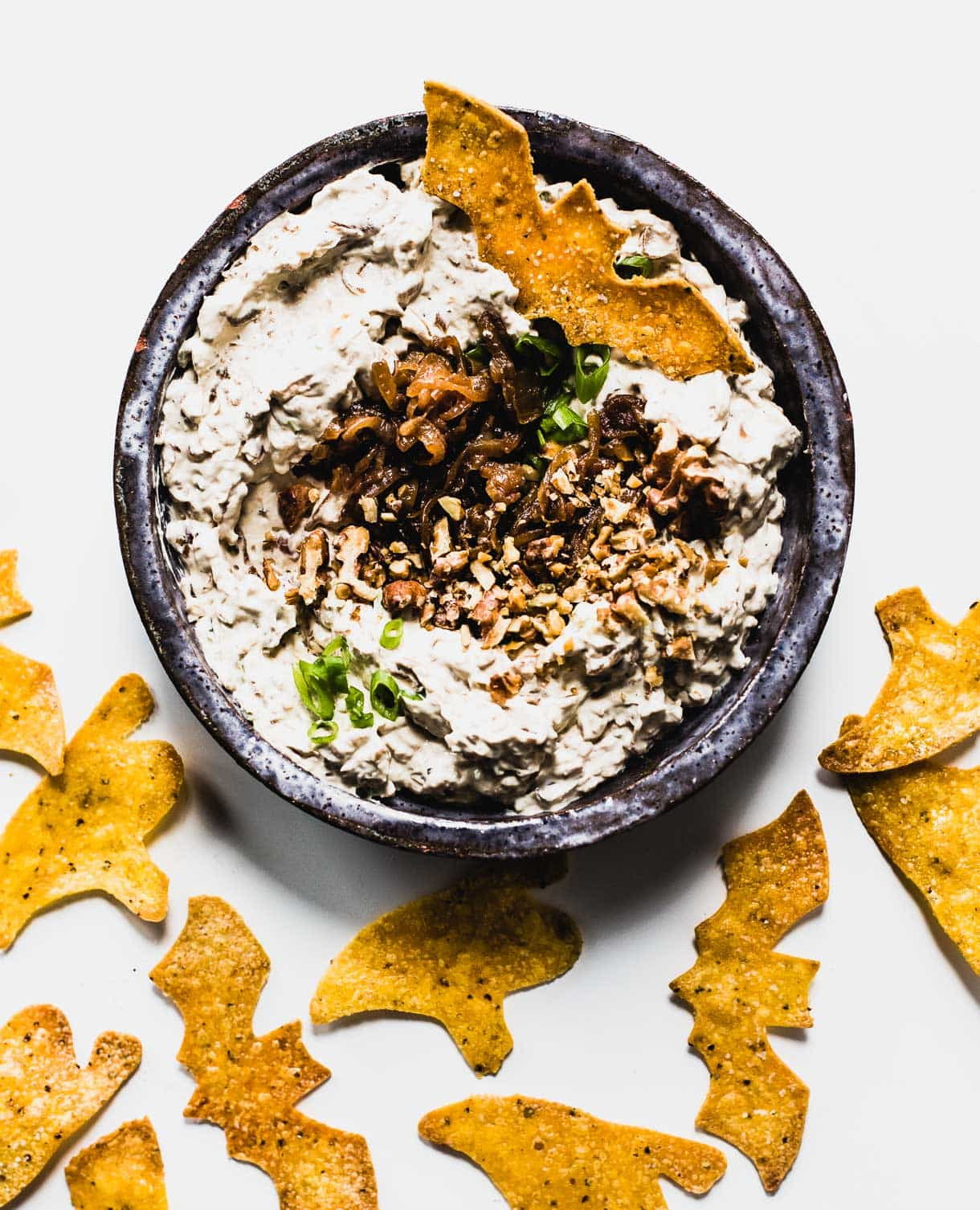 Cream Cheese Onion Dip with DIY Halloween Tortilla Chips