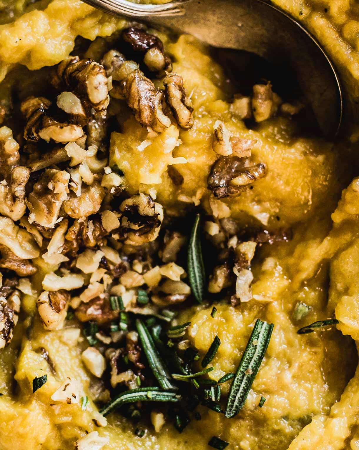 Acorn Squash Mash with maple walnuts