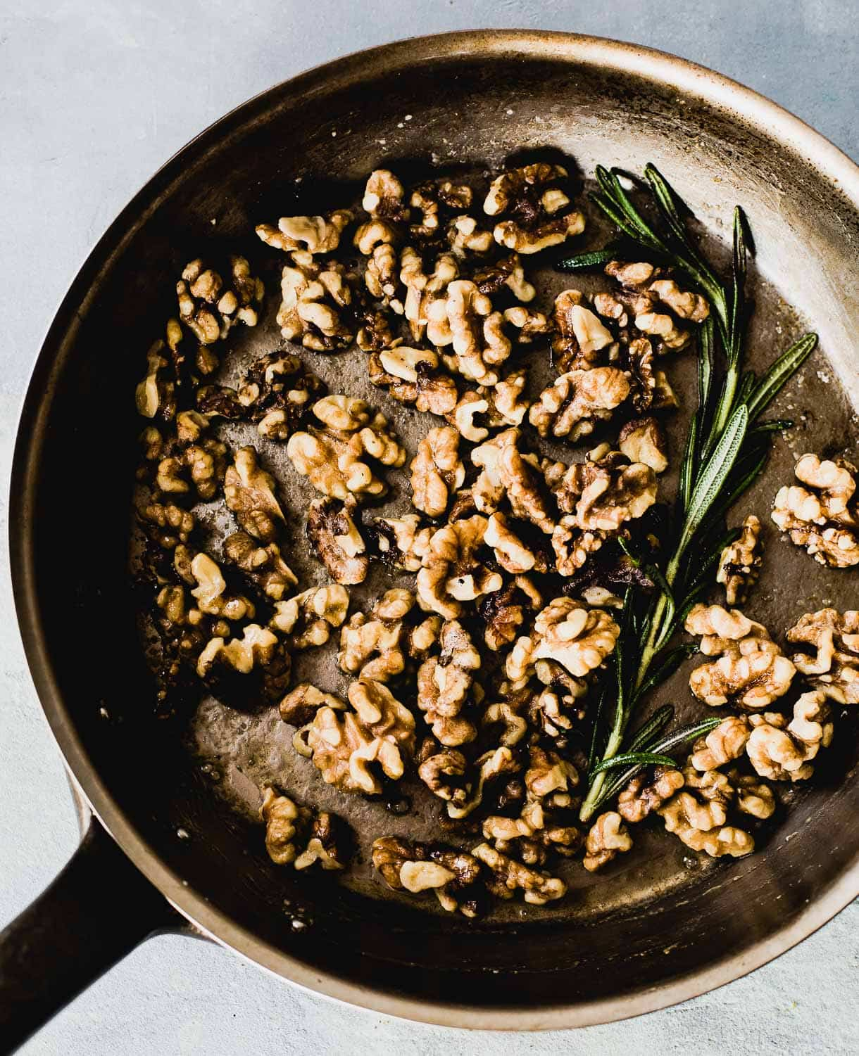 Maple Rosemary Walnuts in Pan