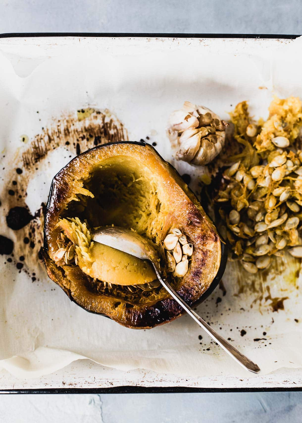 Roasted Acorn Squash in pan