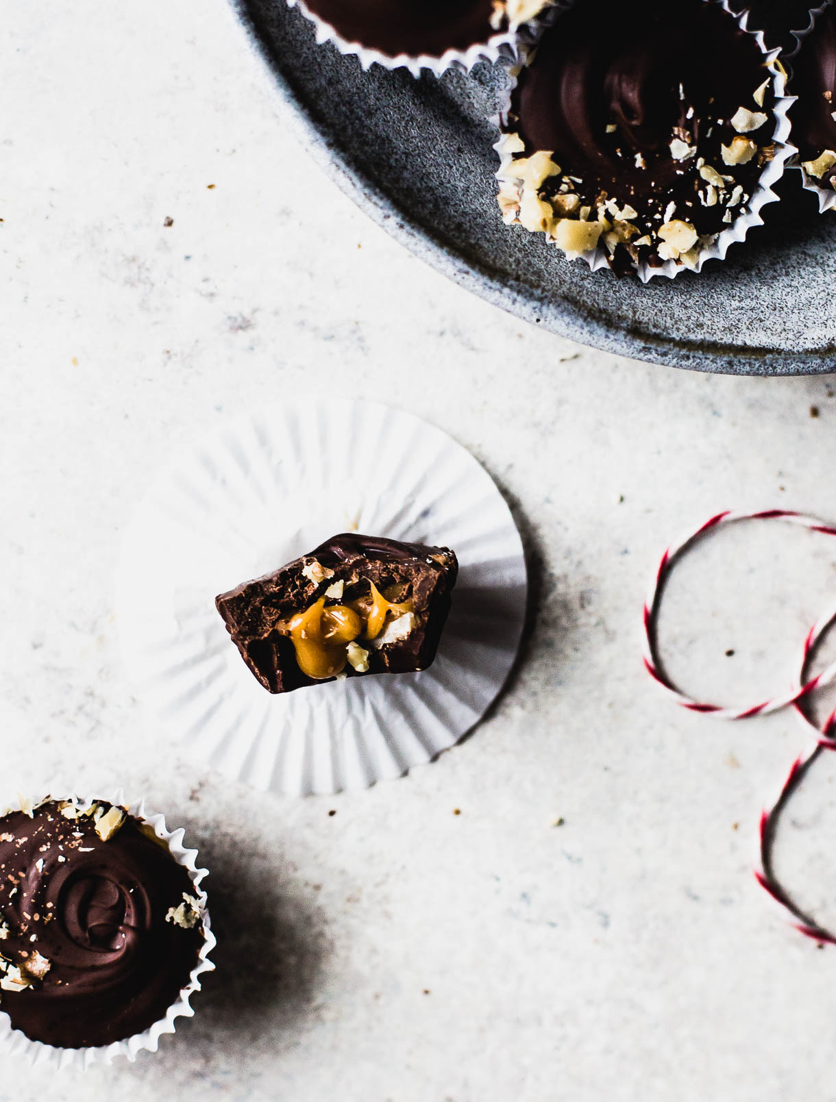 Walnut Caramel Chocolate Cups