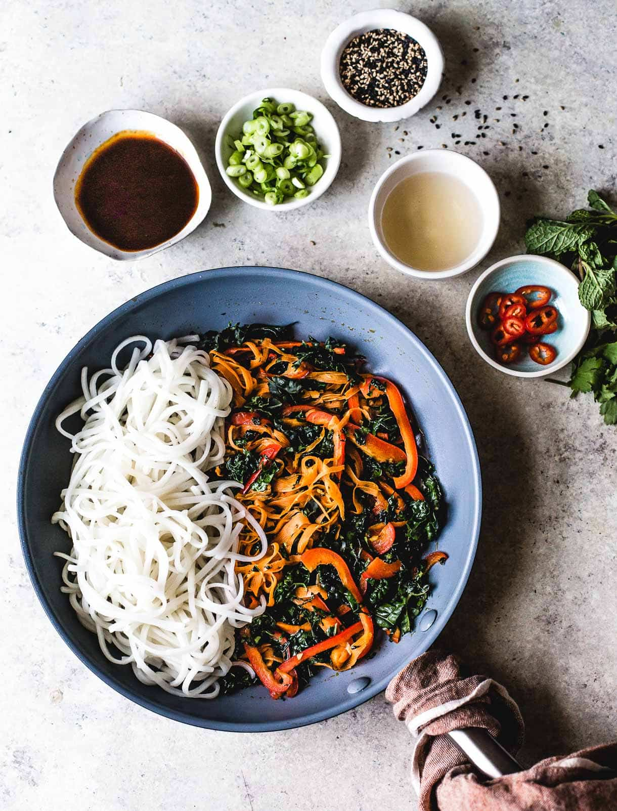 Thai Rice Noodles - ingredients for stir fry
