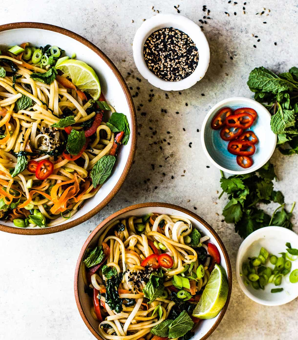 Sesame Thai Rice Noodles - vegan recipe
