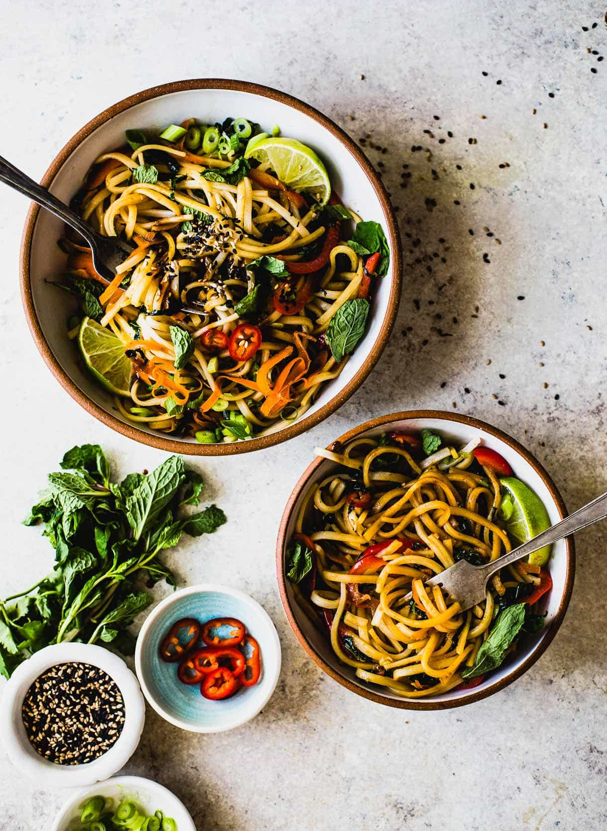 Sesame Thai Rice Noodles With Vegetables Vegan Recipe