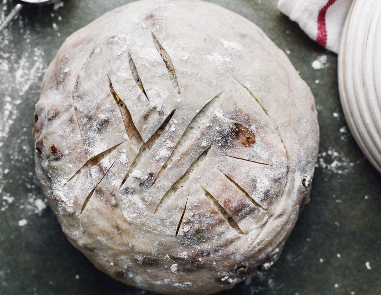 scoring sourdough bread