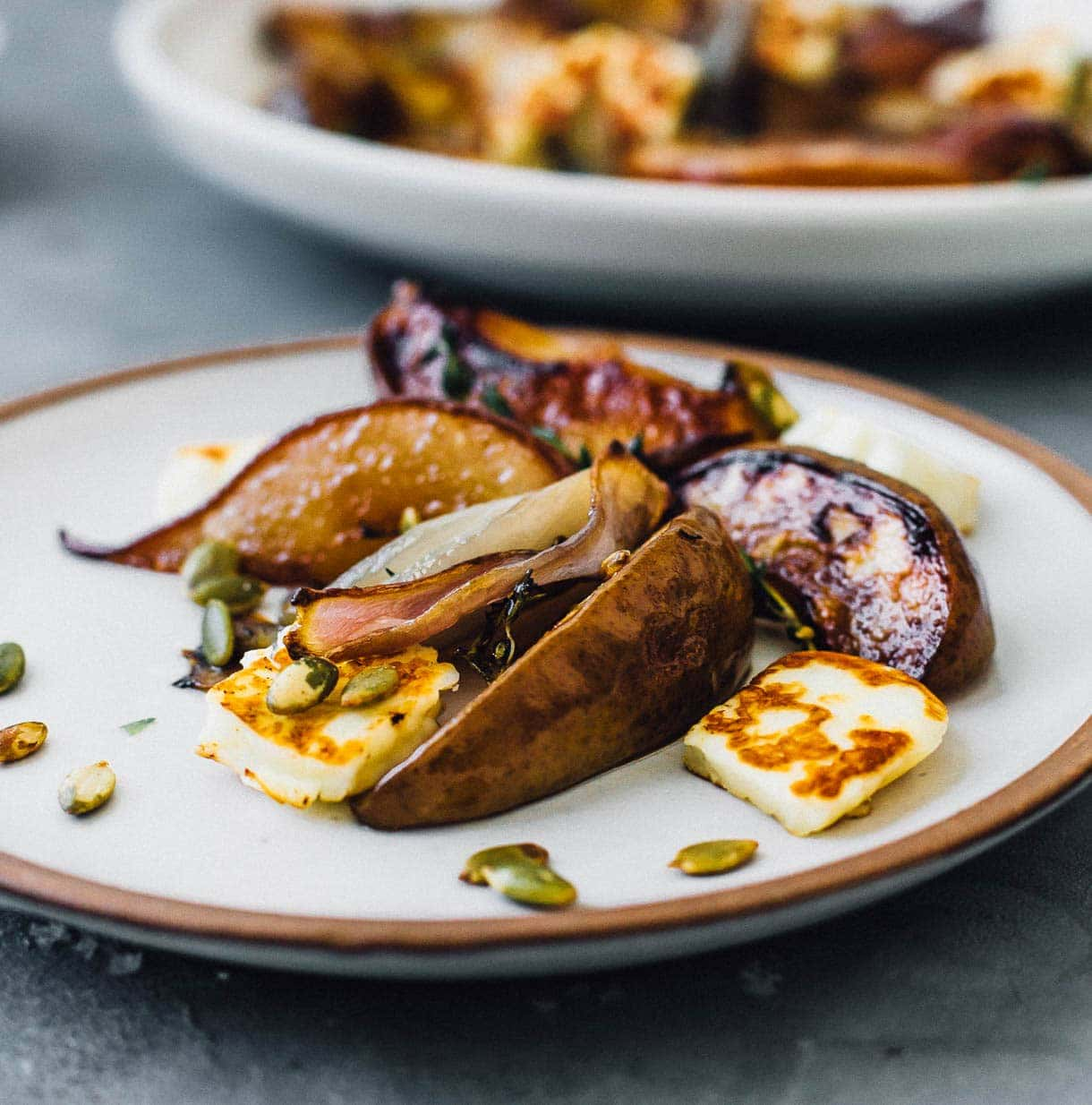 savory pears with #halloumi cheese