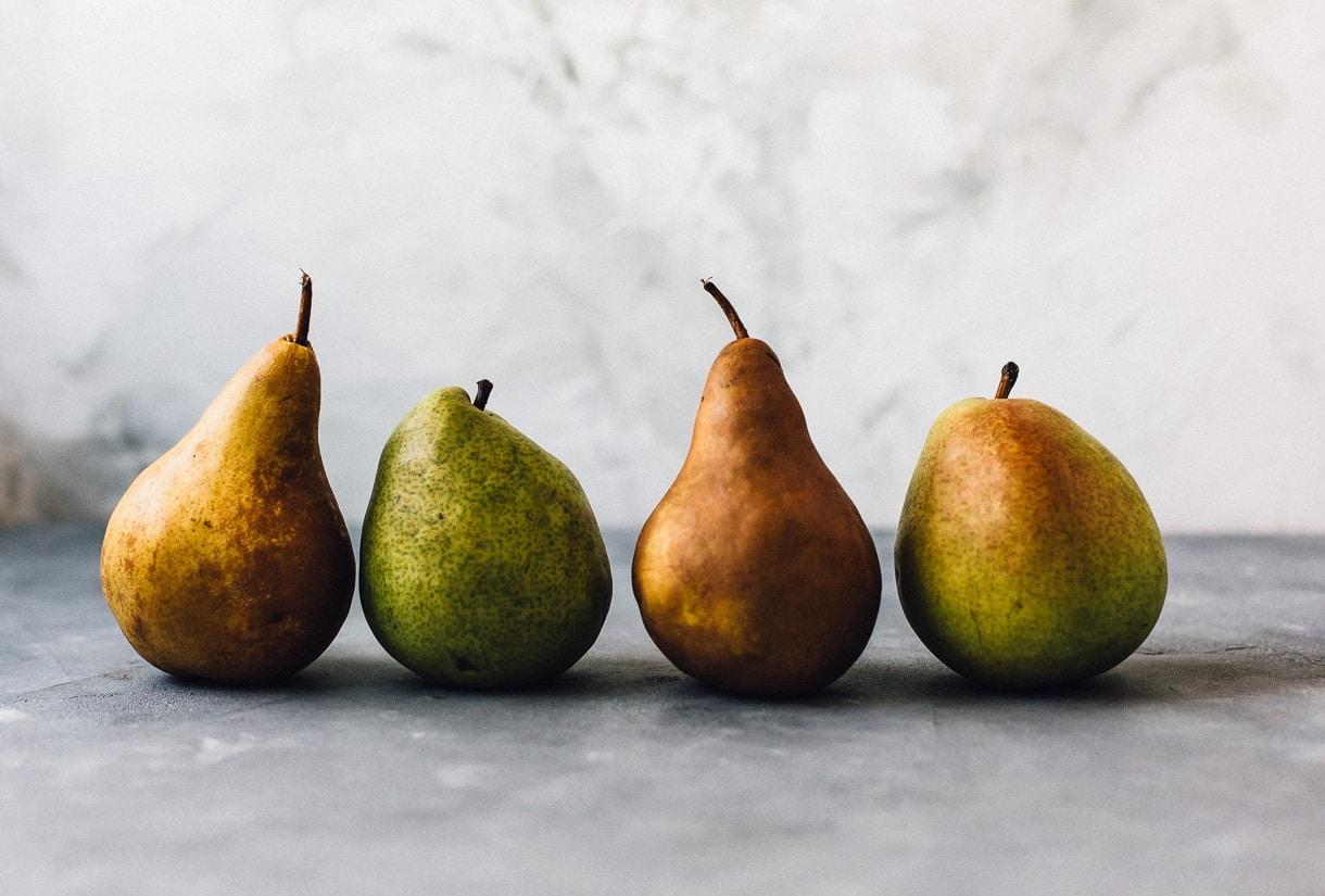 green danjou pears, bosc pears