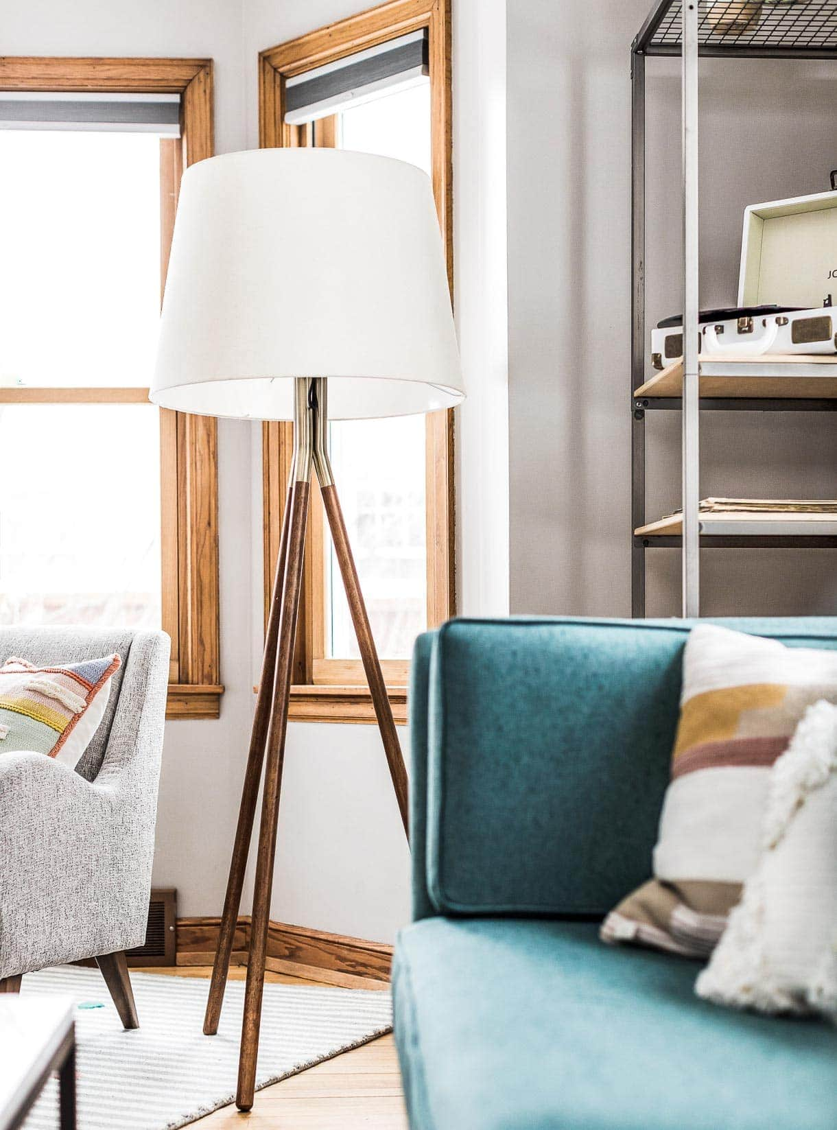 crate and barrel floor lamp, tripod floor lamp