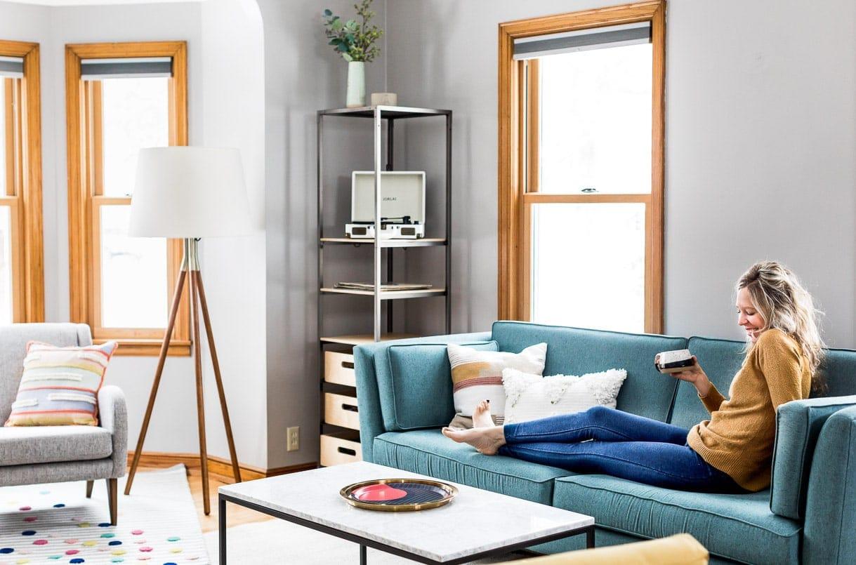 mid century modern grey living room