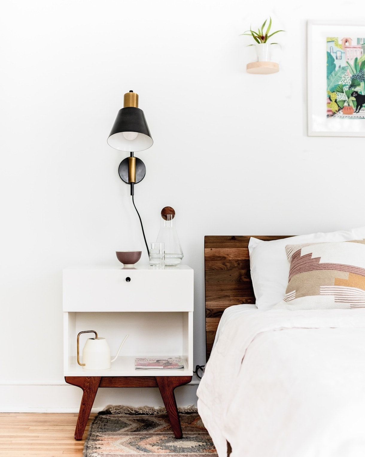 White Nightstand, Modern Bedroom