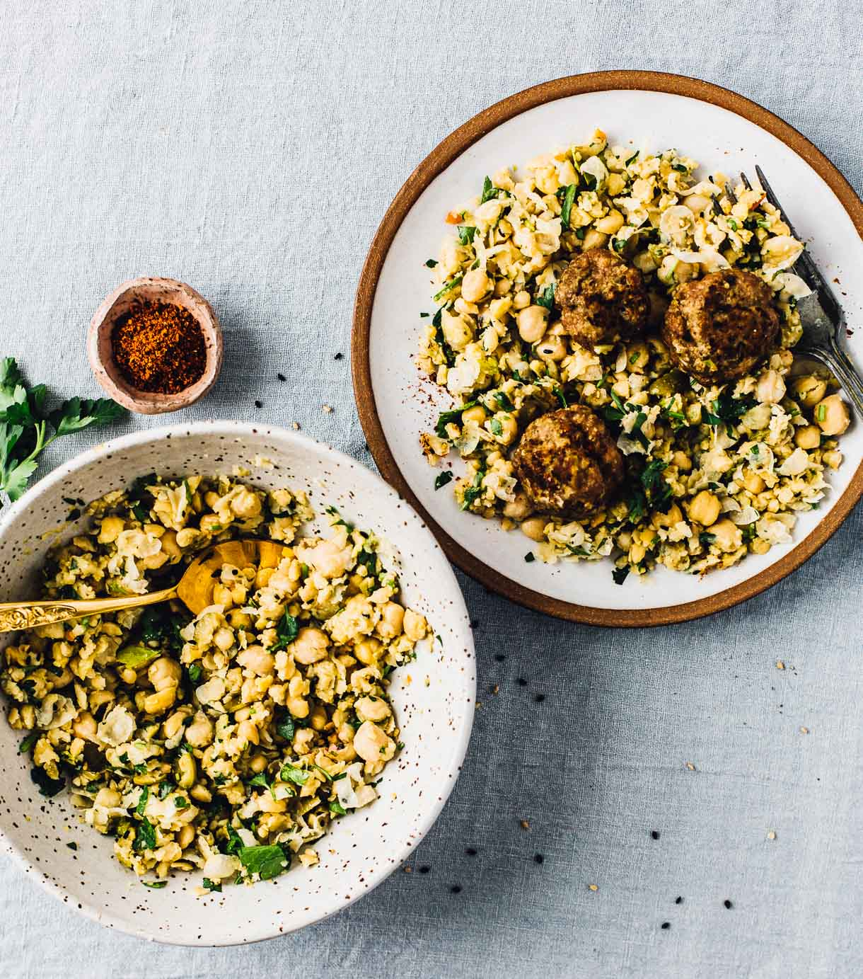 Sesame Turkey Meatballs with Smashed Chickpea Salad