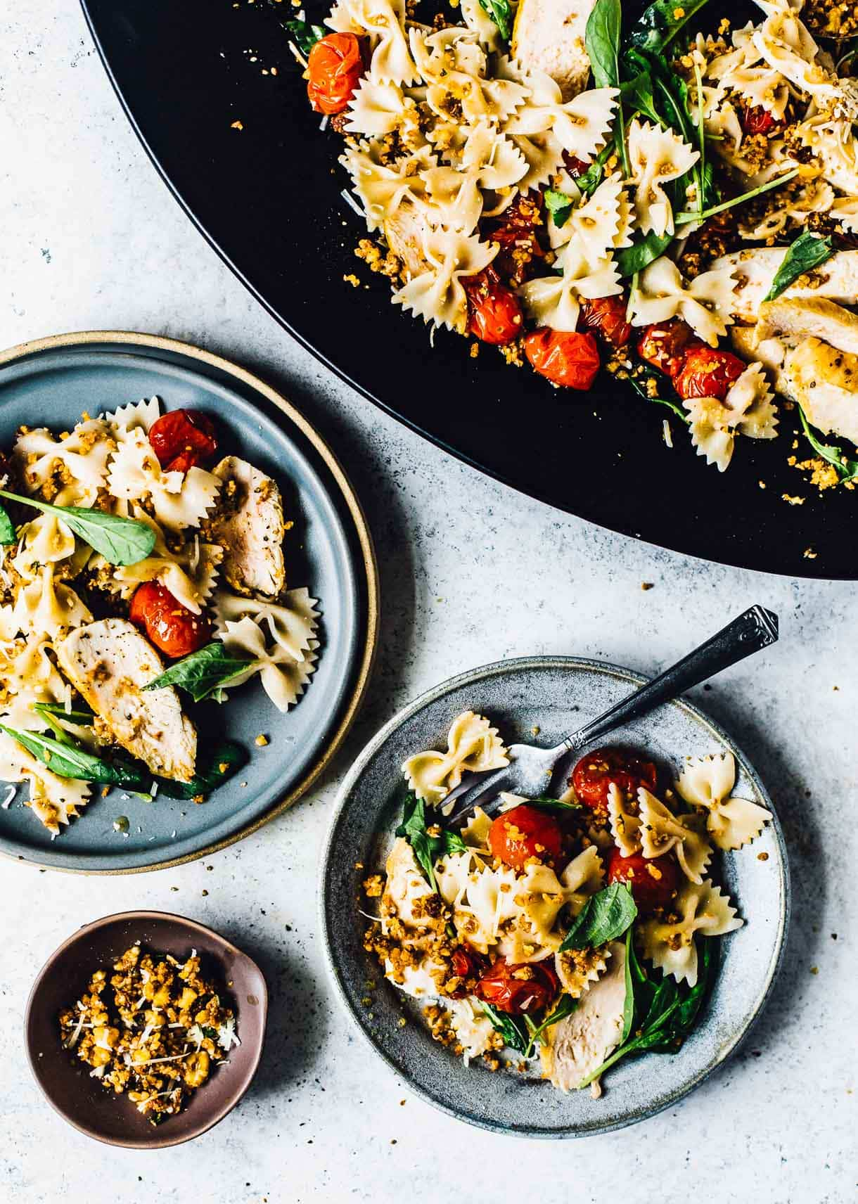Healthy Chicken Pasta Salad with Walnut Crumble