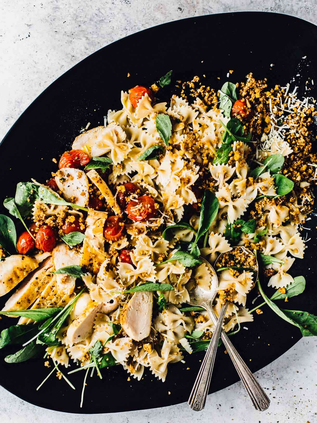 Bruschetta Chicken Pasta Salad with Walnut Crumble