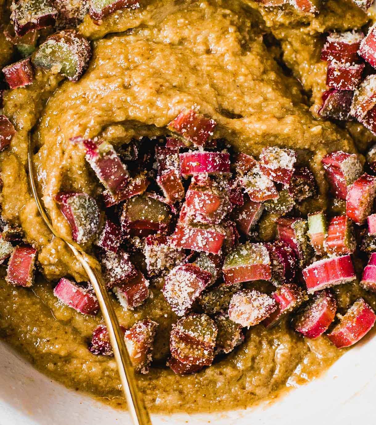 rhubarb muffin batter