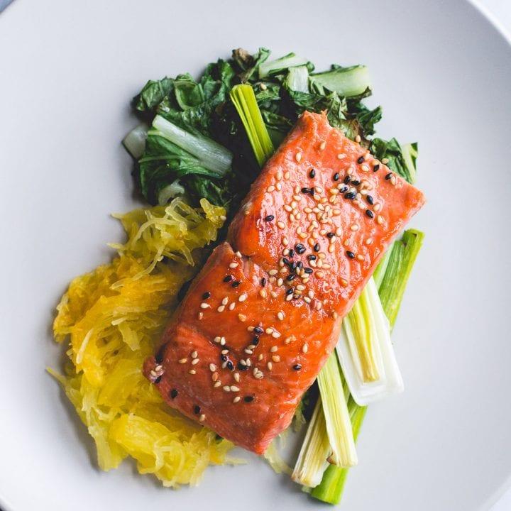 Oven Roasted Paleo Salmon Recipe with Spaghetti Squash