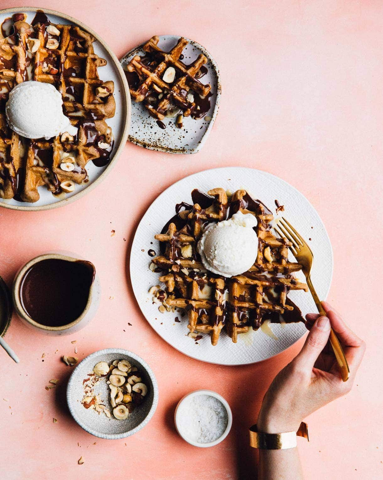 Waffle Ice Cream Sundae with Tahini Hot Fudge